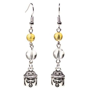 Gem Bead  Citrine/Clear Quartz Earrings with Buddha