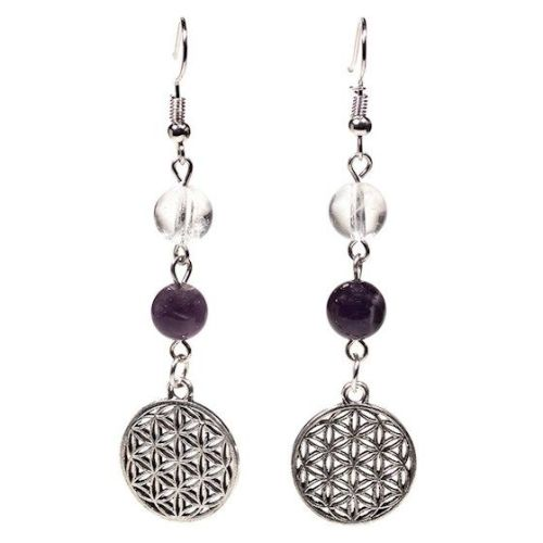 Gem Bead  Clear Quartz/Amethyst Earrings with Flower of Life