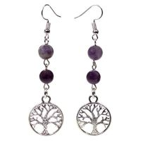 Gem Bead  Amethyst/Fluorite Earrings with Tree of Life