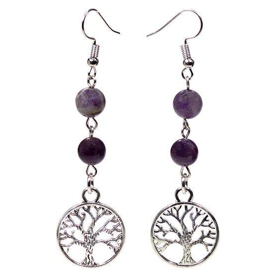 Gem Bead  Amethyst/Fluorite Earrings with Tree of Life