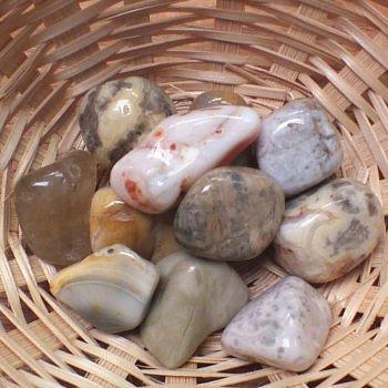Tumblestone - Coral, Agatised