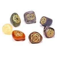 Chakra Engraved Chakra Symbol Tumbled Stones SET of 7
