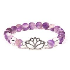 Gem Bead  Amethyst/Clear Quartz Bracelet with Lotus Flower