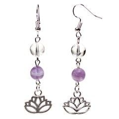 Gem Bead  Amethyst Earrings with Lotus Flower