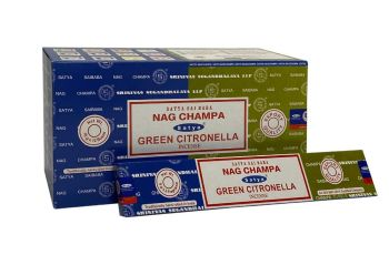 Satya - Nag Champa Combination Incense Sticks with Green Citronella