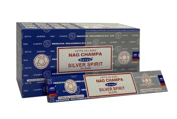 Satya - Nag Champa Combination Incense Sticks with Silver Spirit