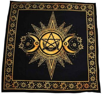 Altar Cloth - Sun Moon Pentagon - Yellow - 105cm x 105cm