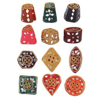 Small Coloured Clay Incense Holder with mini Mirrors for Incense Sticks