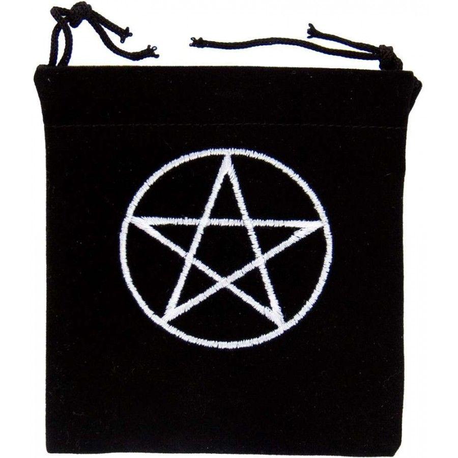 Small Velvet Black Pentagram Pouch Small - 8cm x 10cm