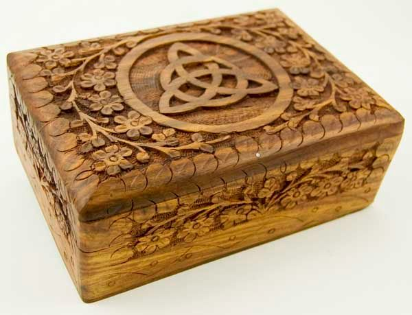 Wooden Carved Triquetra Tarot / Trinket Box 7X5 Inch