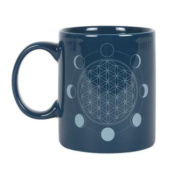 The Moon Phase Flower of Life Ceramic Mug