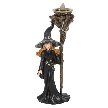 Backflow Incense Burner - Witch with Staff 23cm