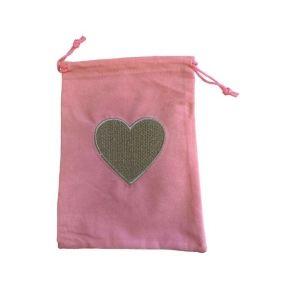 Tarot Bag - Embroidered Heart - 15cm x 20cm