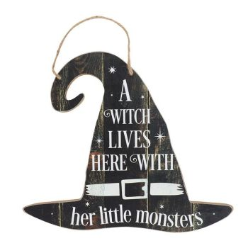 A Witch Lives Here With Her Little Monsters Sign