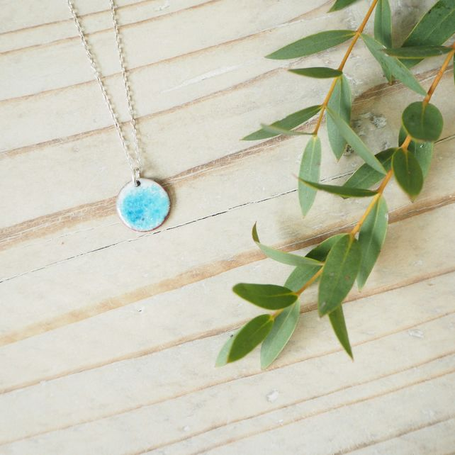 Sea Spray Enamel Pendant in Blues with Silver Chain