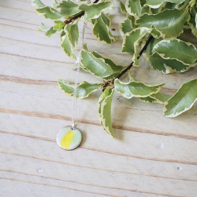 Yellow Melon Enamel Round Pendant on Silver Chain