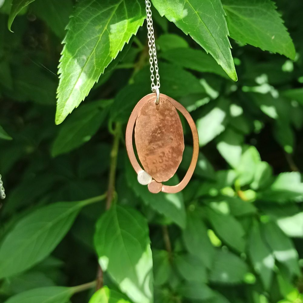 Copper Textured Oval Pendant - kinetic design