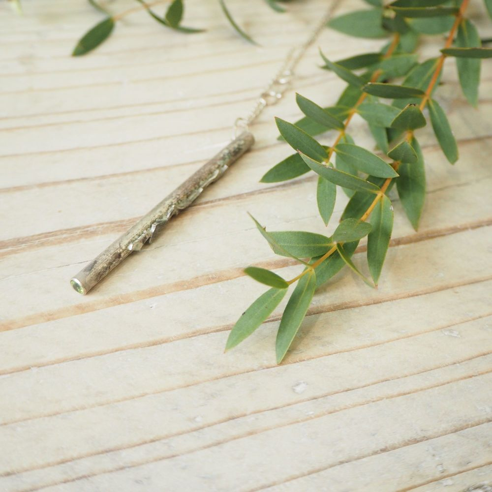 Druid's Wand -- Oxidised Silver Pendant with Peridot ends