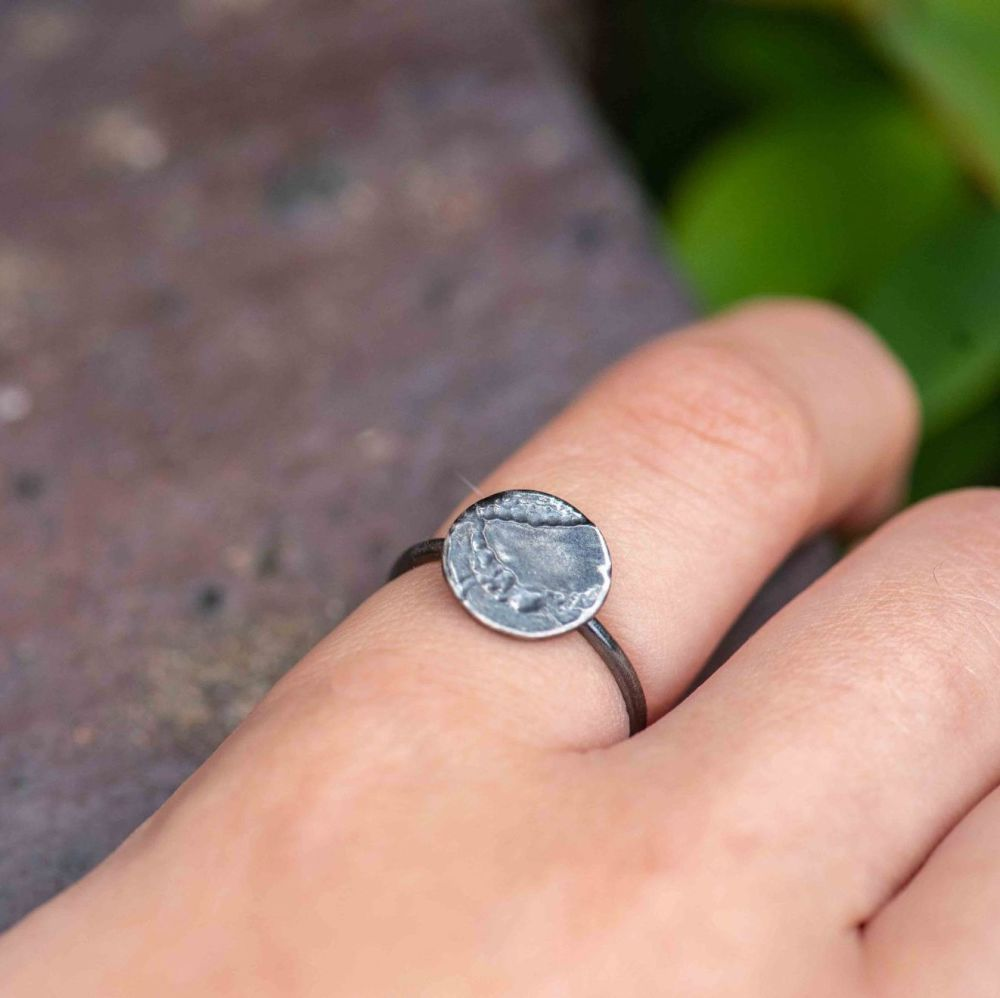 Oily Oxidised Decorated Silver Ring - size Q