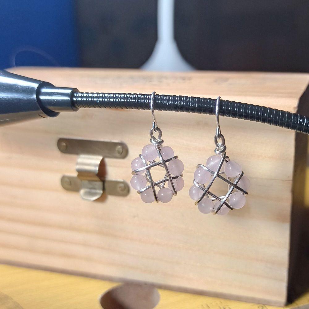 Rose Quartz Woven Basket Earrings