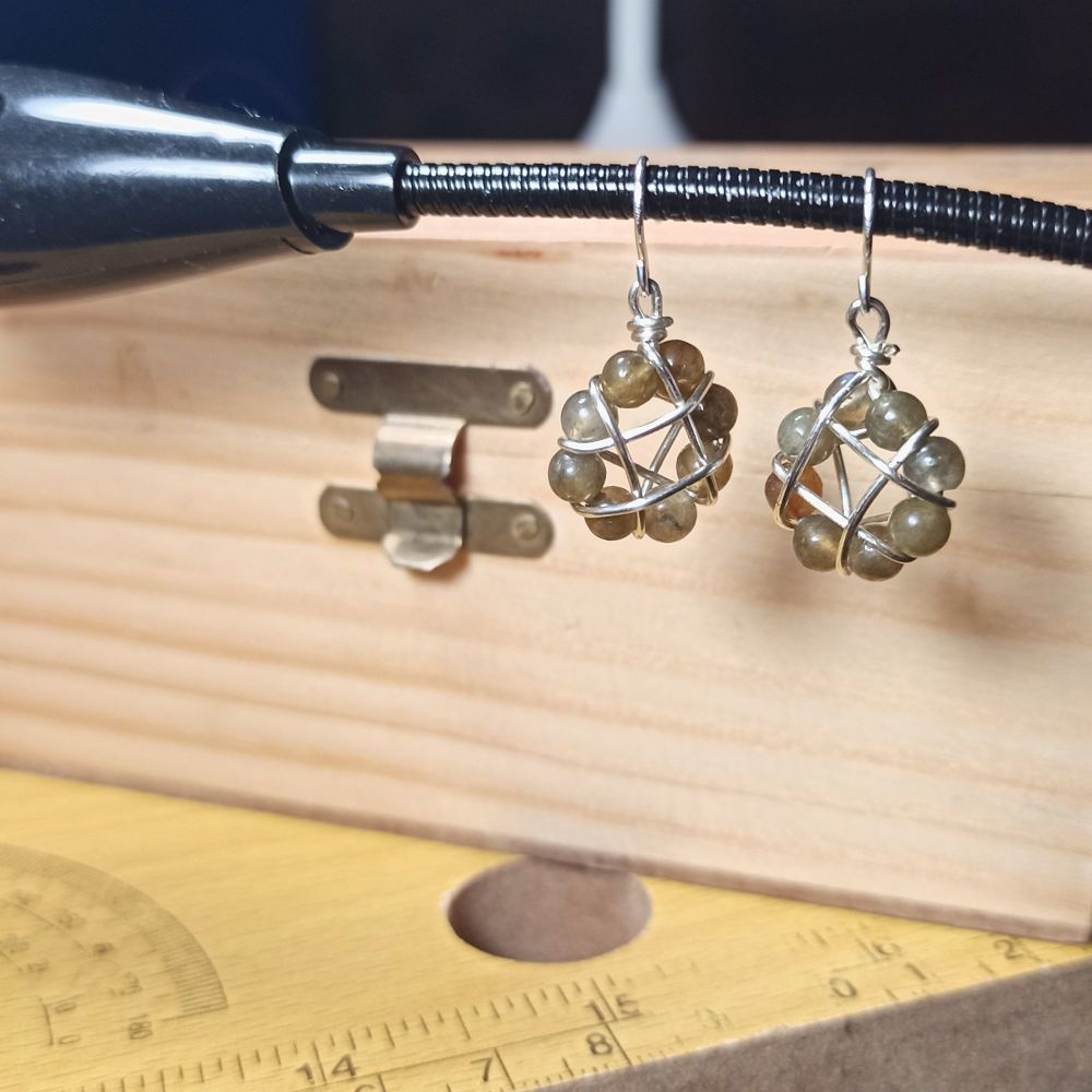 Rainbow Fluorite Round Dangle Earrings