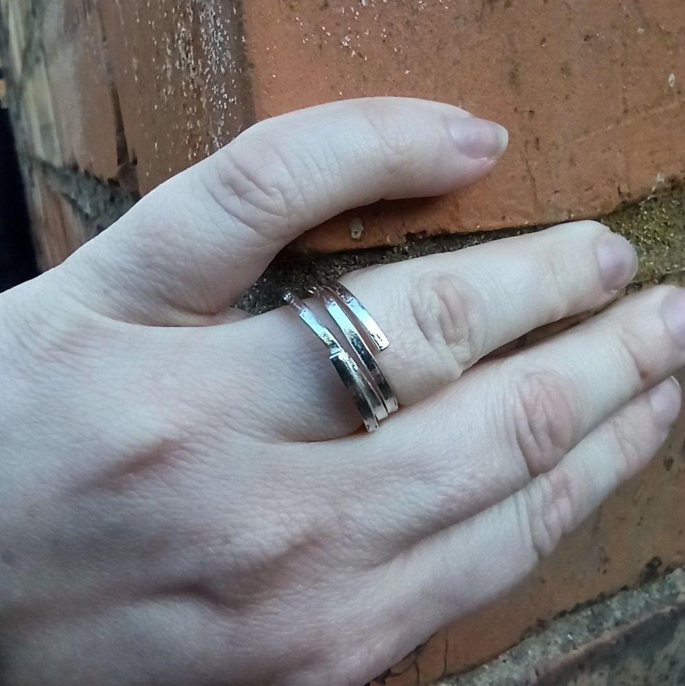 Random Spiral Statement Silver Ring - size M