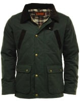 Men's Game Oxford Quilted Wax Jacket. Black / Olive Green