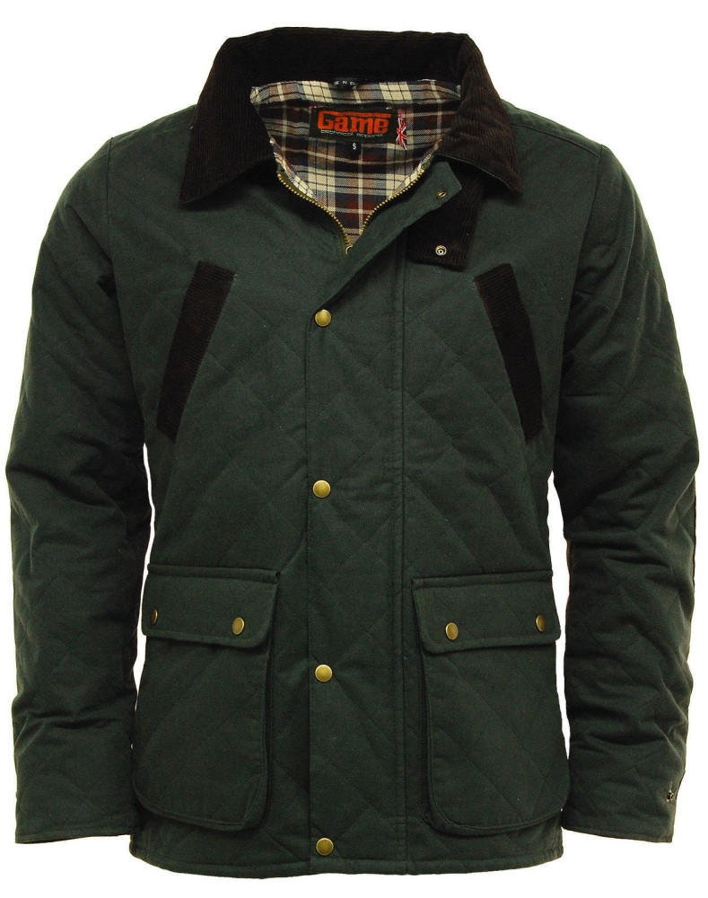 GAME OXFORD Quilted Wax Jacket. Black / Olive Green