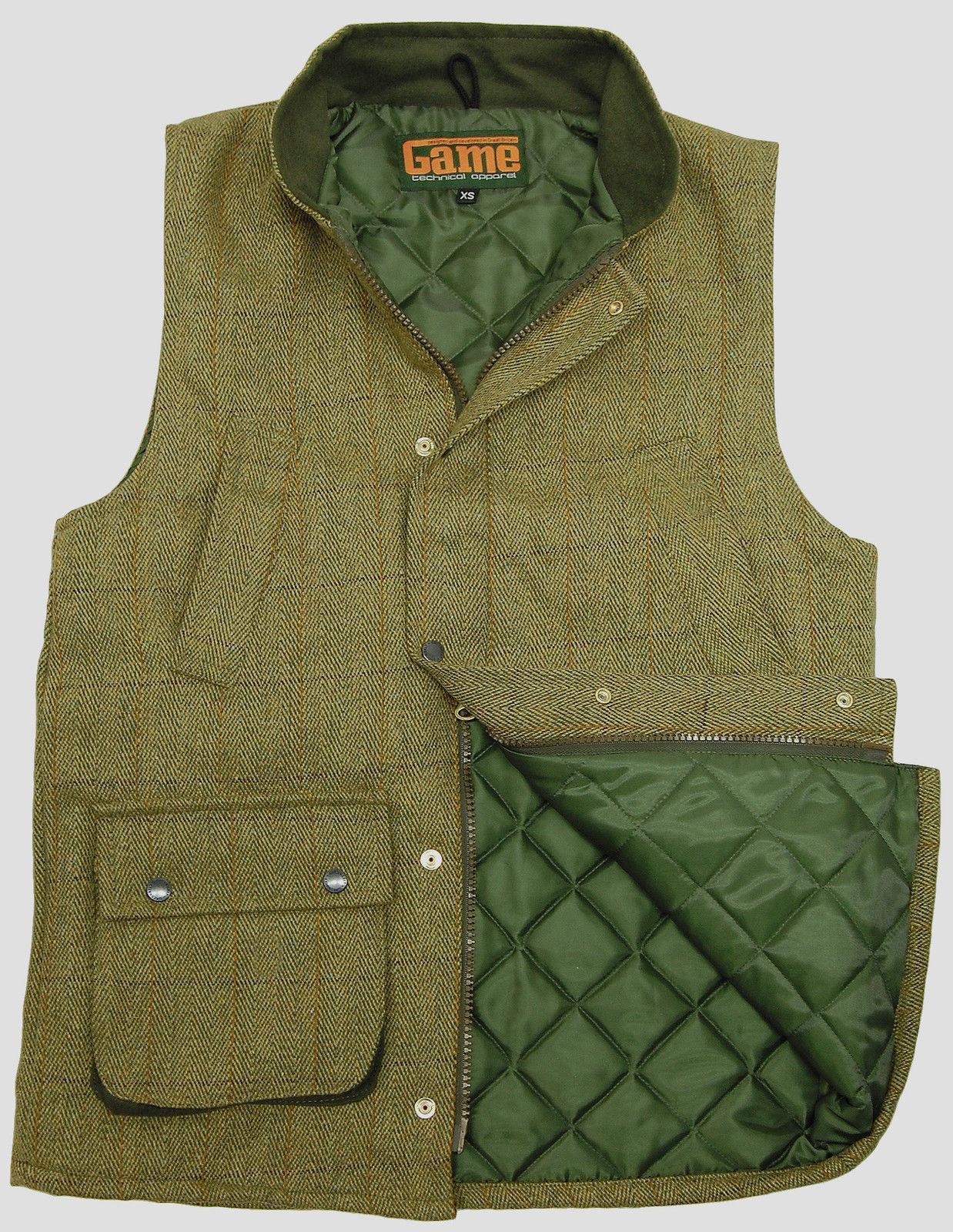 Game Mens Tweed Gilet Hunting Shooting Bodywarmer Waistcoat Dark Light Derby New