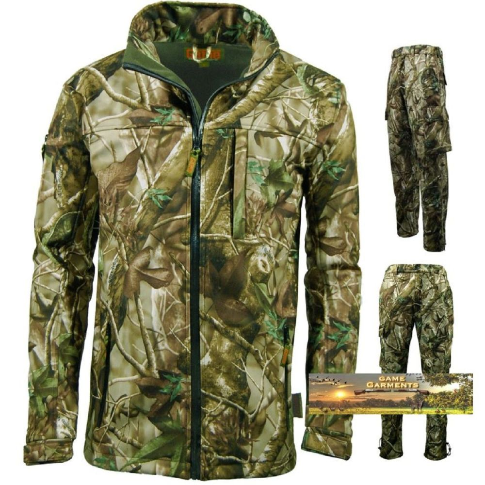 Passion Green Softshell Camouflage Jacket & Trouser Combination Set Hunting