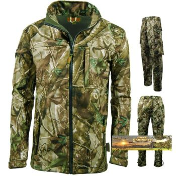 Passion Green Softshell Camouflage Jacket & Trouser Combination Set. Hunting Beating