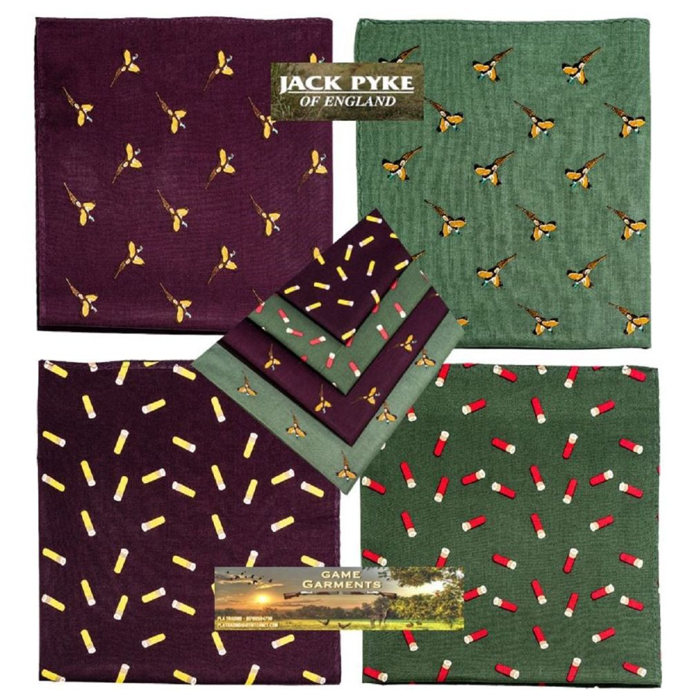 Jack Pyke Four Pack Hankies - Cartridge and Pheasant