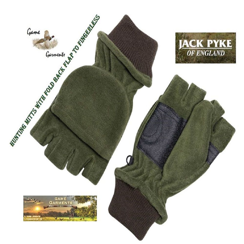 Jack Pyke Finger less Mitts with fold back velcro flap