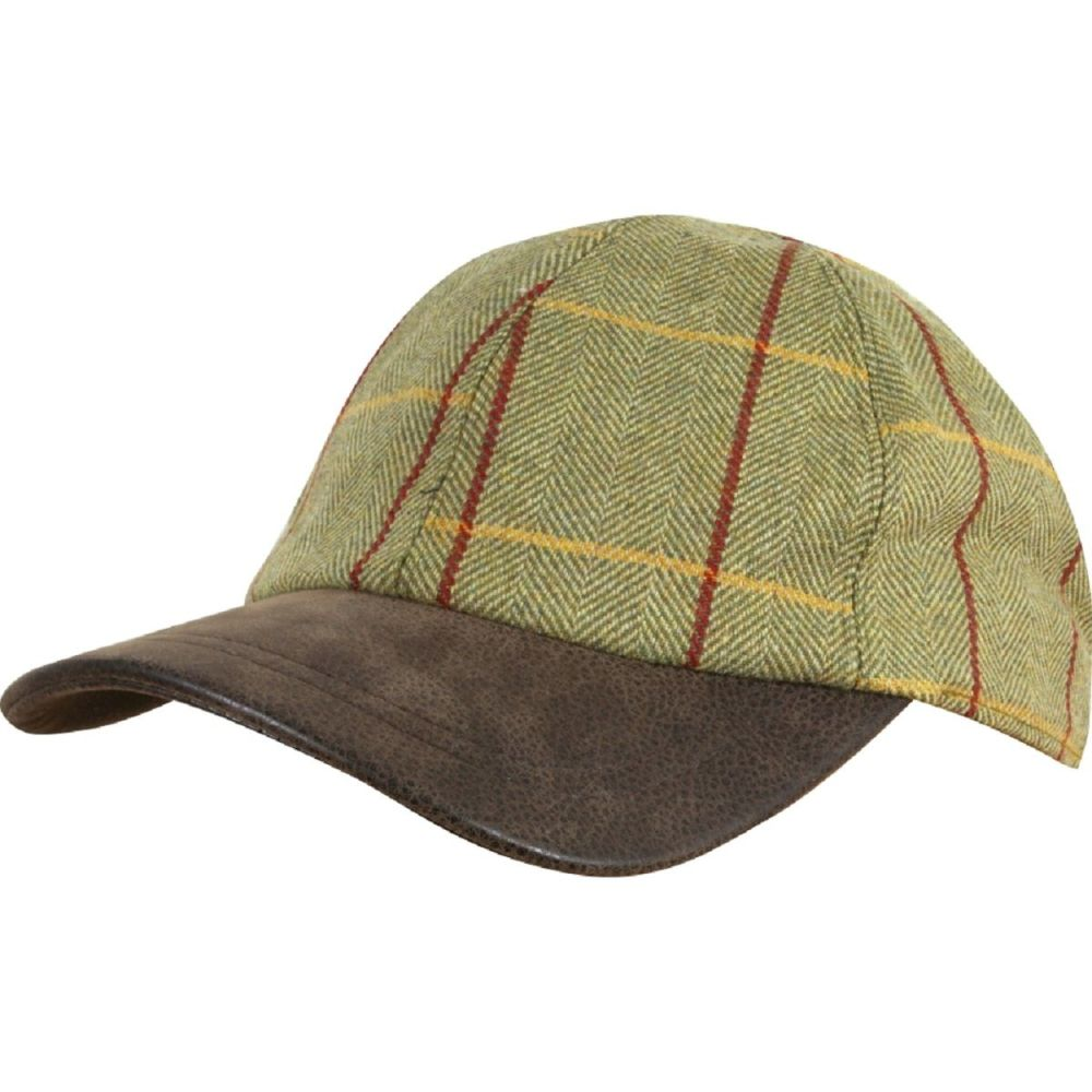 Tweed baseball cap with Faux Leather peak