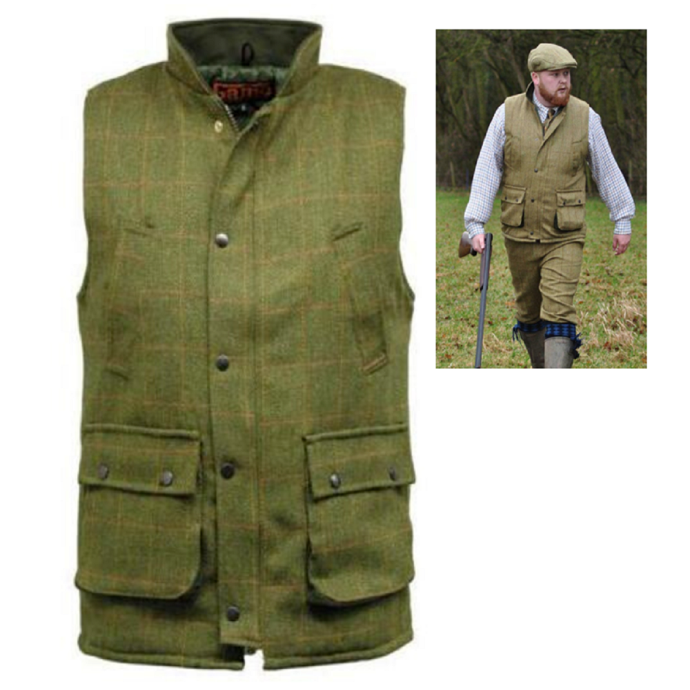 Men's Derby Tweed Gilet / Country Body Warmer available in Light Sage and D