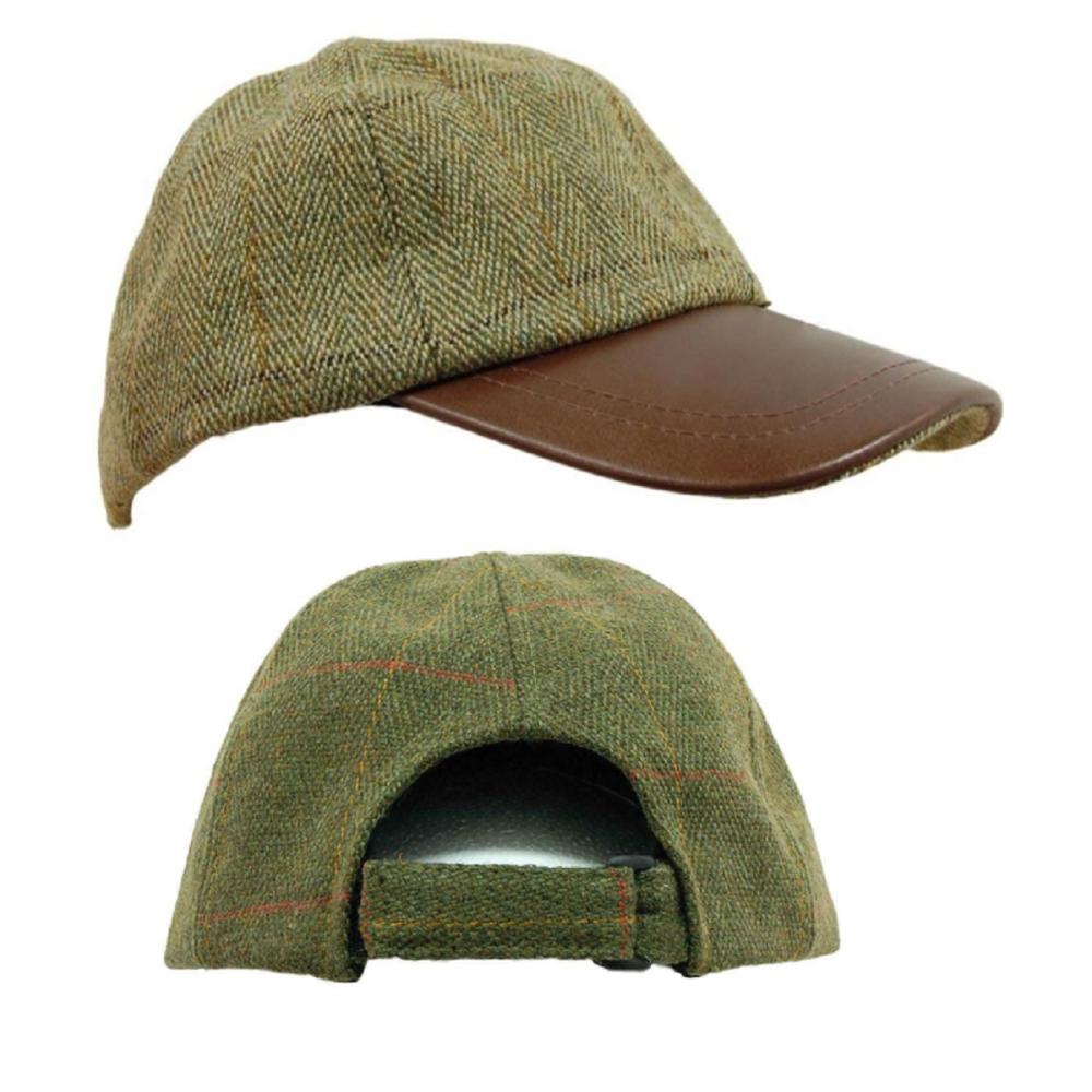 Tweed & Leather Baseball Skip Cap Hat in Dark Tweed or Light Sage