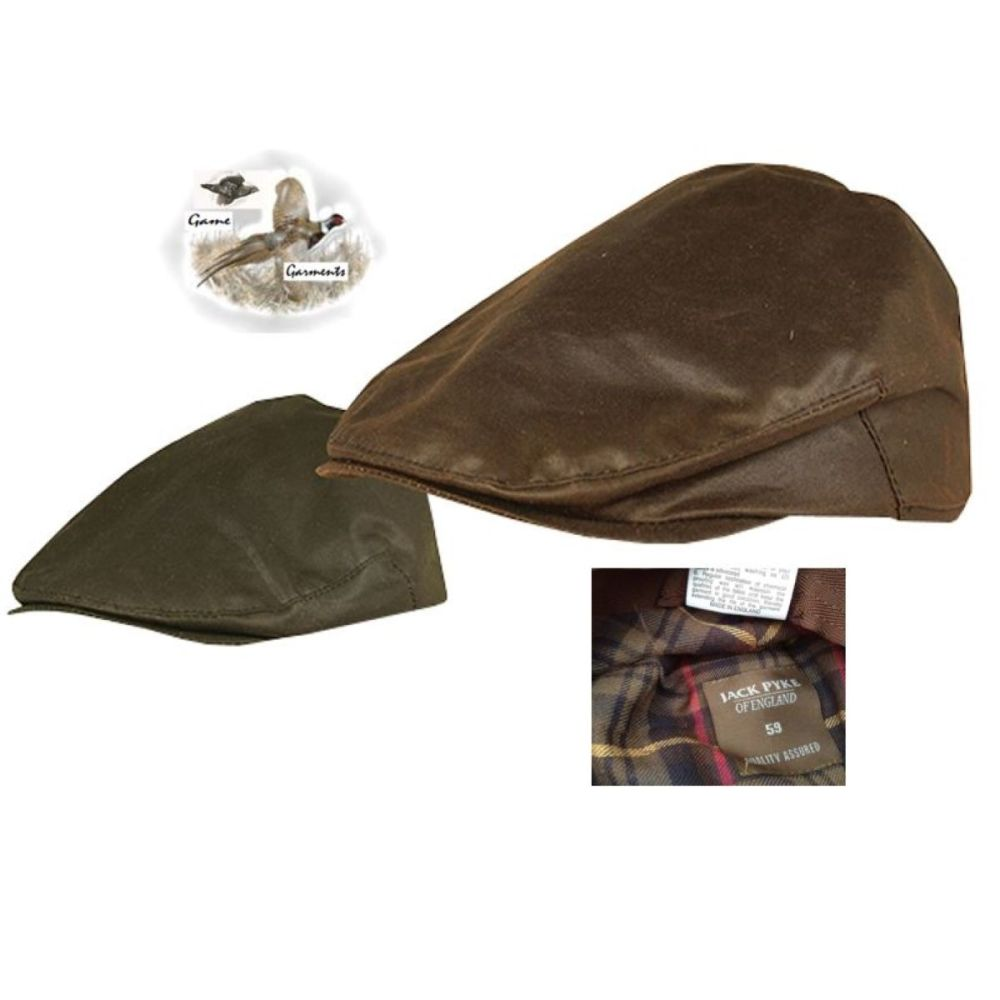 Mens Wax Flat Cap in Brown or Green