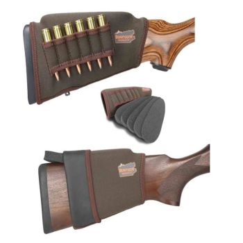 Beartooth rifle stock raising kits with built in bullet holders. Colour black or brown.