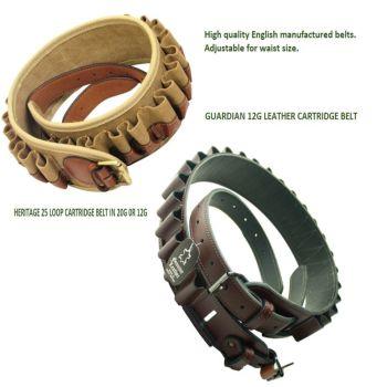 Heritage leather or cartridge & leather shotgun cartridge belts