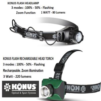 KONUS Quality Night Vision Flash Head Band Led Torches. Night Fishing & Hunting.