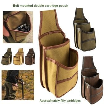 Canvas, Belt Mounted, Double Pocket Cartridge Bag / Holding Pouch.