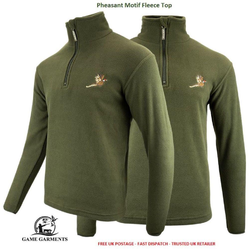 Jack Pyke Green Game Fleece Jumper / Pullover with Pheasant Motif