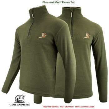 Jack Pyke Green Game Fleece Jumper / Pullover with Pheasant Motif