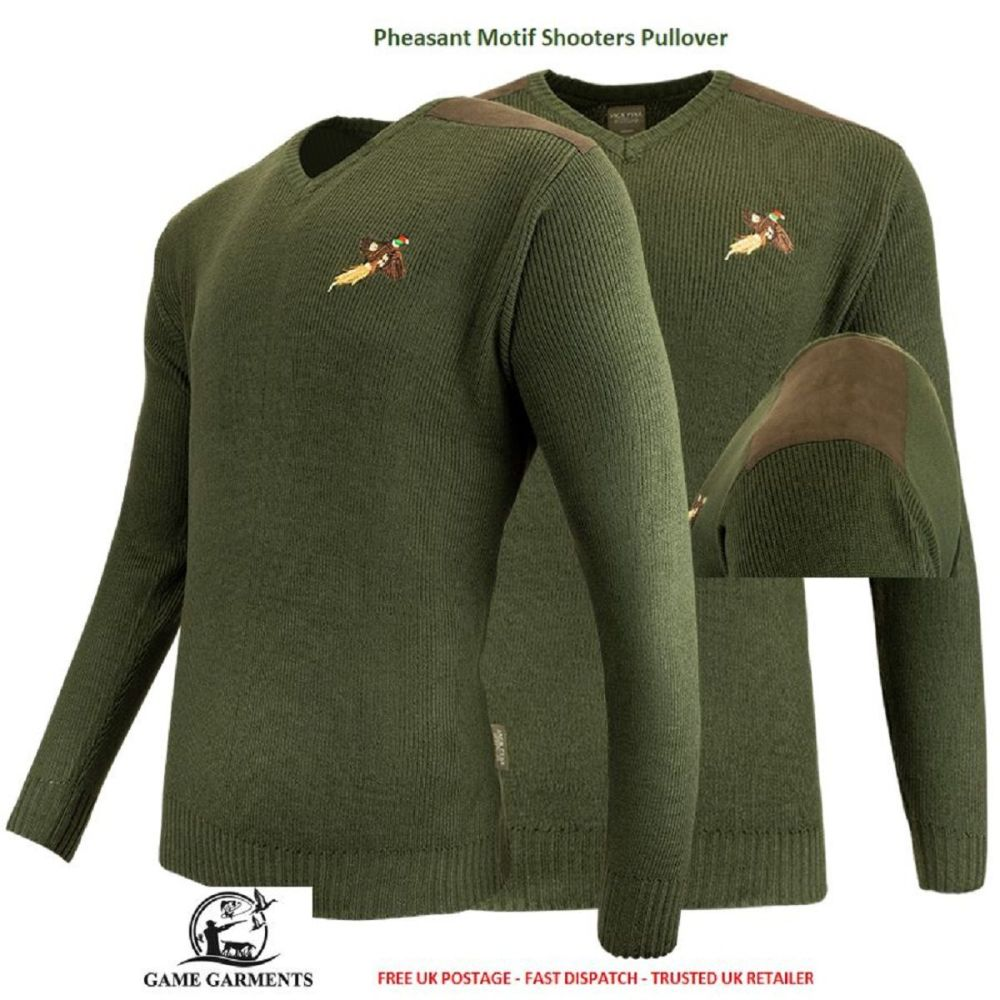 Jack Pyke Green Game Shooting Jumper / Pullover with Pheasant Logo.