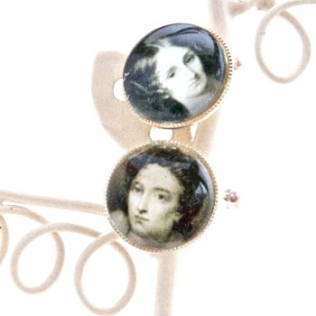 Mary & Percy Shelley cufflinks, silver plated