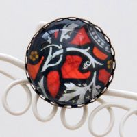 Stained glass brooch, red
