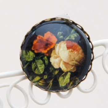 Roses from Dutch still life painting, brooch