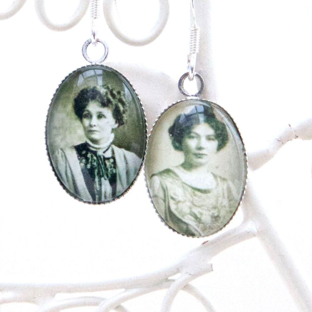 Emmeline & Christabel Pankhurst earrings