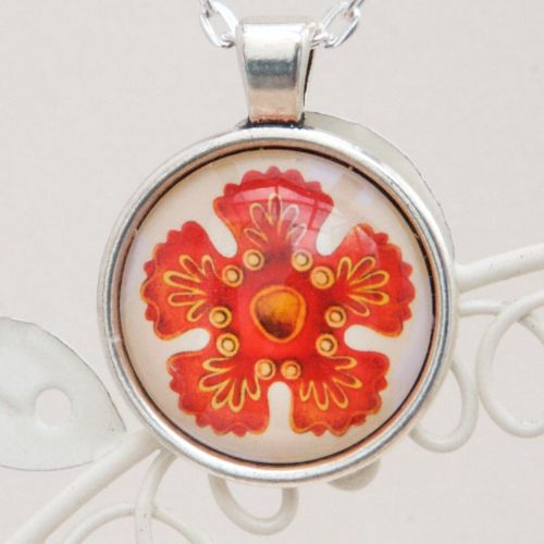 Haeckel red starfish larvae pendant