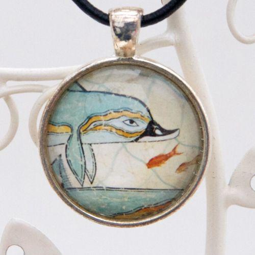 Knossos dolphin fresco pendant necklace